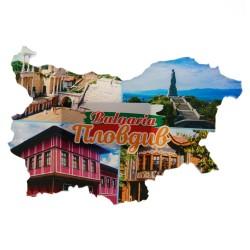 """Fridge magnet """"Plovdiv - Bulgaria - map"""""""